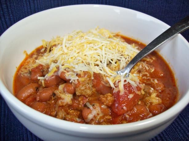 Simple Chili from Food.com:   								This comes from a Betty Crocker cookbook of One Dish Meals and it is so yummy! Its easy to make too, most of the time is for simmering. This is really mild, but could be a great starting point for a spicier chili.    ZWT 3: U.S. (chili) and Mexican/tex-mex/S.W. (variation)