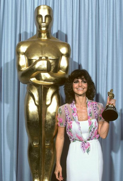 Sally Field with her first Best Actress Oscar for Norma Rae -- April 14, 1980