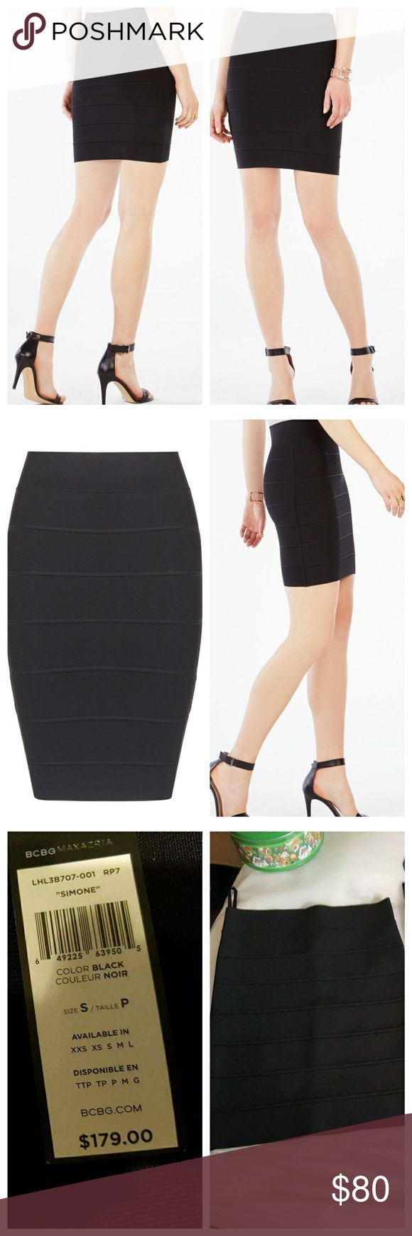 New Bcbg Maxazria Simone Textured Power Skirt New Bcbg Maxazria Simone textured power skirt   This powerfully confident skirt makes it easy to create chic, sophisticated looks for day or night.  Sits above waist. Elasticized waistband. Pencil. Hits above the knee. Horizontal piping throughout. Self: Rayon, Nylon, Spandex. Machine Wash.  NEW WITH TAGS Size Small color Black   I do bundle and offers are welcome BCBGMaxAzria Skirts Pencil