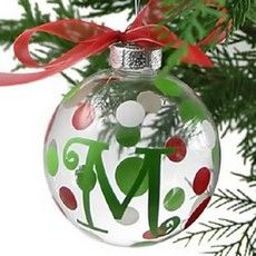 Modern Holiday Glass Initial Christmas Ornaments