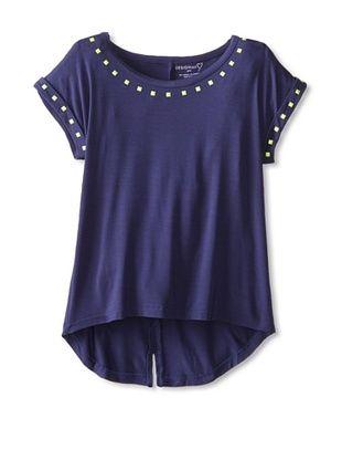 40% OFF Design History Girl's 7-16 Hi-Lo Shirt Tail Top (Indigo)