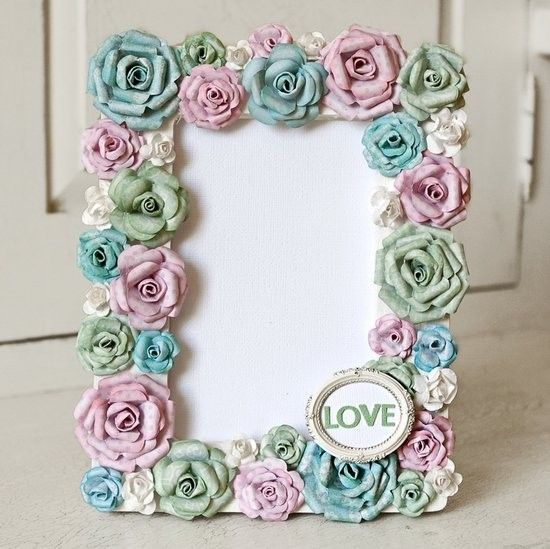 """Love"""" altered photo frame using handmade paper flowers, by Stacy ..."""