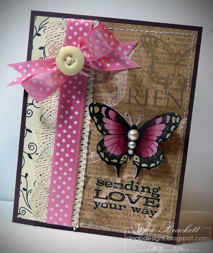 Love the Kraft with RaspberryCards Ideas, Shabby Butterflies, Butterflies Pattern, Shabby Chic, Cards Tags, Pink Butterflies, Butterflies Cards, Wings Friends, Artsy Cardsi