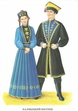 Калмыцкий национальный костюм девушки