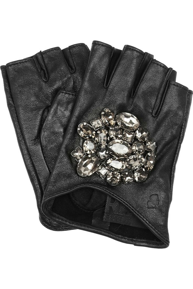 Driving gloves benefits - Karl Lagerfeld Attens Crystal Embellished Leather Gloves Net A Porter