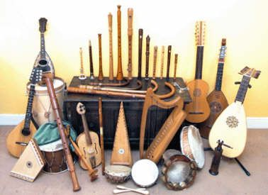 Renaissance instruments are small and compact. They are very interestingly shaped, much more different than a modern guitar or drums.