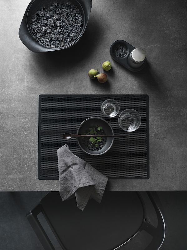 A black table setting - an ideal grown up alternative at Halloween   VIPP