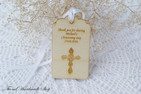 Christening Favor Tag Personalised Christening Gift Tag by Teomil