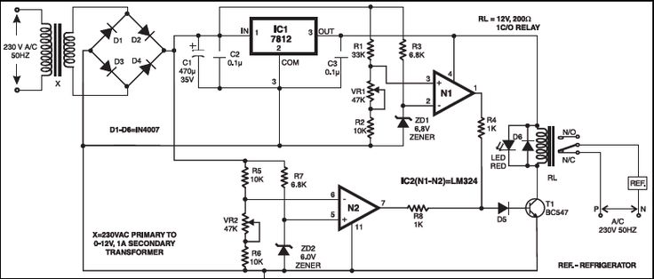 OVER- / UNDER-VOLTAGE PROTECTION OF ELECTRICAL APPLIANCES: This circuit protects refrigerators as well as other appliances from over and under-voltage. Operational amplifier IC LM324 (IC2) is used here as a comparator. IC LM324 consists of four operational amplifiers, of which only two operational amplifiers (N1 and N2) are used in the circuit.
