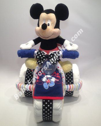 Mickey Mouse Tricycle Diaper Cake - Baby Boy - Diaper Cakes #mickeyMouse #babyshowergifts