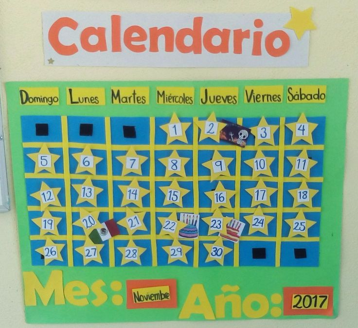 Calendario con stickers de días festivos