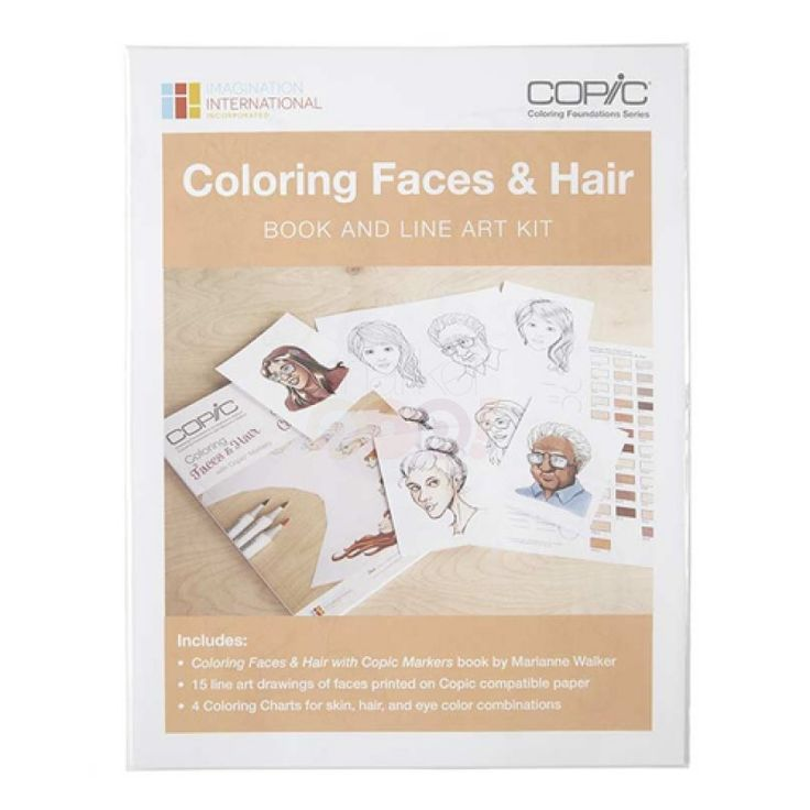 COPIC Coloring Foundations Book Collection - Faces & Hair Book and Line Art Kit