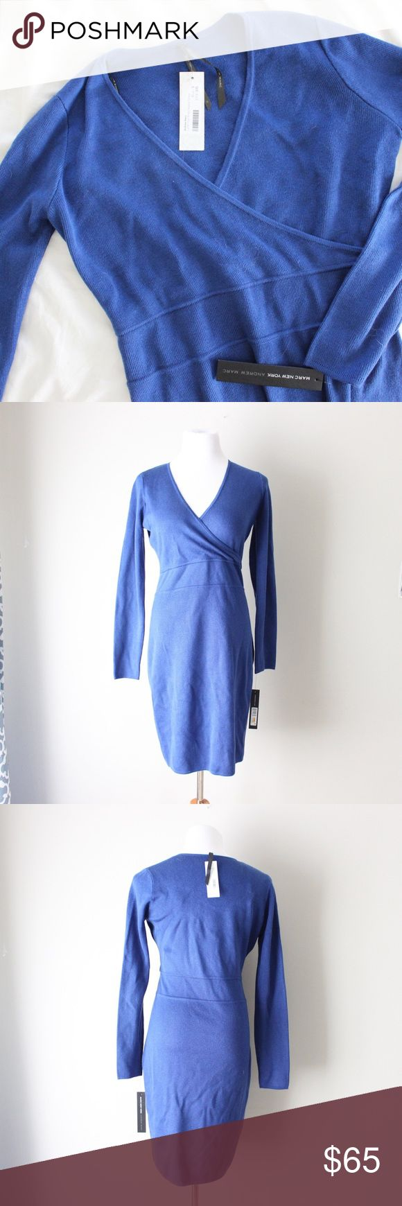 Andrew Marc Faux Wrap Sweater Dress Andrew Marc Knit royal blue sweater dress with tags. Originally from Stitchfix.  Fits true to size.  Shown on a size 4/6 mannequin.  In gently used condition, no flaws.  Measurements available upon request.  All orders shipped same or next business day! Andrew Marc Dresses Long Sleeve