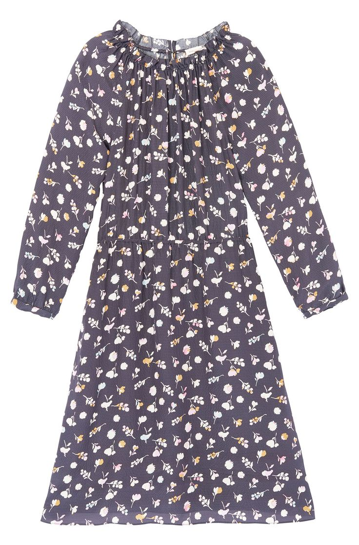 Elegant in hammered silk, our Holly Flower Print Silk Dress has an easy, versatile drape.