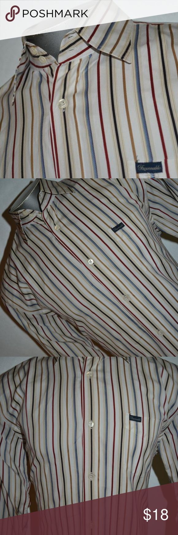 7140 Faconnable Dress Shirt Size Medium Red Blue 7140 Mens Faconnable Dress Shirt Size Medium Red Tan Blue Striped 100% Cotton    Size: Medium  Top to Bottom: 30 Inches  Pit to Pit: 23.5 Inches  Color: Blue Tan Red Striped    This will ship out the day of or the after payment is received. Faconnable Shirts Dress Shirts