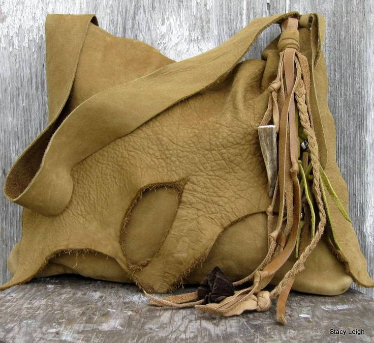 Washed Leather Rustic Shoulder Bag with Natural by stacyleigh
