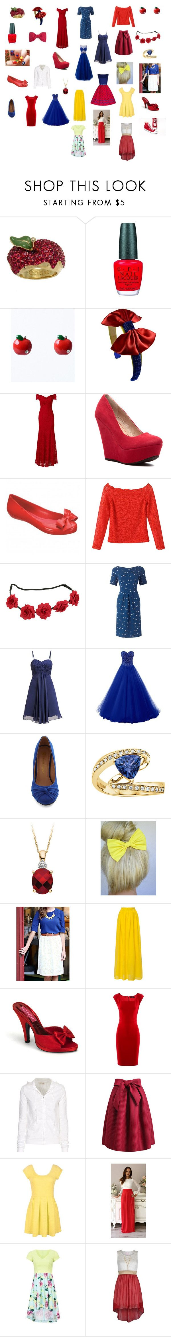 """""""Snow White's closet🍎"""" by hunterhayesfan92 ❤ liked on Polyvore featuring Disney Couture, OPI, Nicole Miller, mel, Laona, Effy Jewelry, ModestPop, Dolce&Gabbana and American Vintage"""