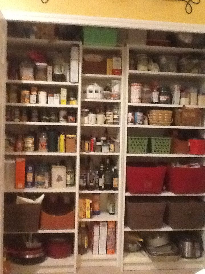 I used IKEA Billy bookcases to replace the awful wire pantry shelves in my  pantry. Used 2 31 inch long by 15 inch deep bookshelves and one small billy  ...