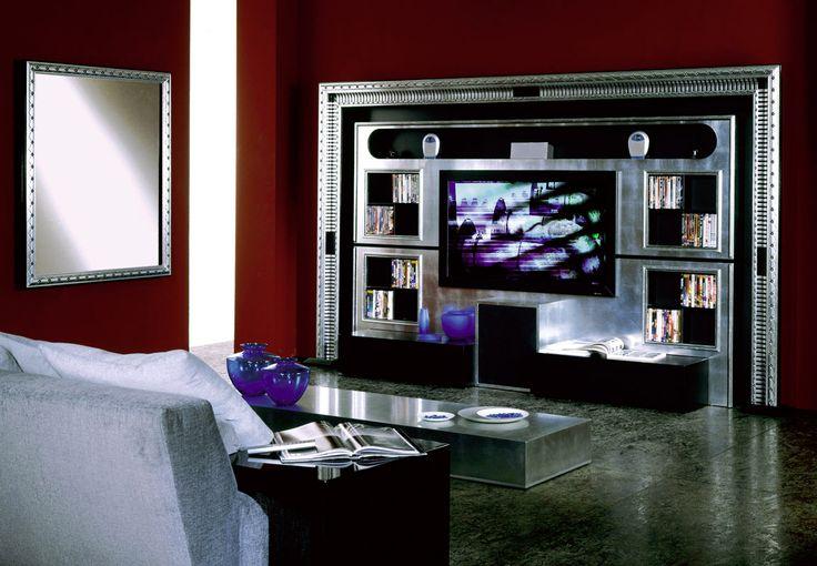 tv stand tv rack tv wall unit in silver and black art deco style for home living #livingroom #tvstand #tvwallunit #tvrack #interiordesign #design #homedecor #silver