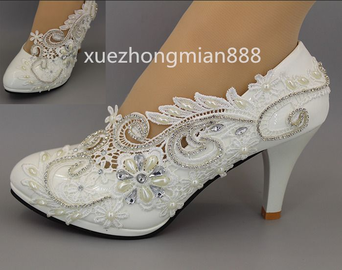 Lace White Wedding Shoes Rhinestones Pearl Bridal Low High Heel Pump Size 4 10 White Wedding Shoes Low High Heels Prom Shoes