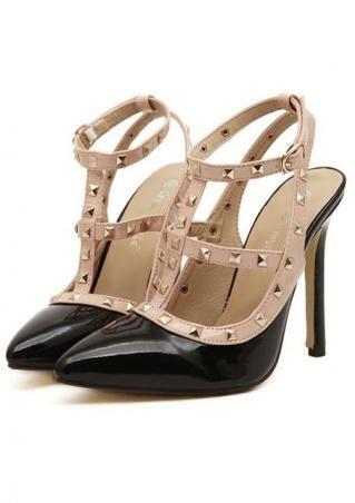 Women's rivet pointy high heels