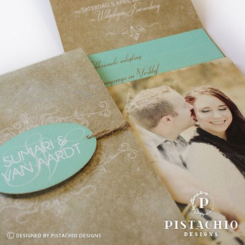 Vintage one fold wedding invitation made by www.pistachiodesigns.co.za