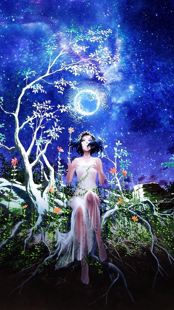 Fantasy Starry Night Tree Woman Artwork 720x1280 Wallpaper A Caso