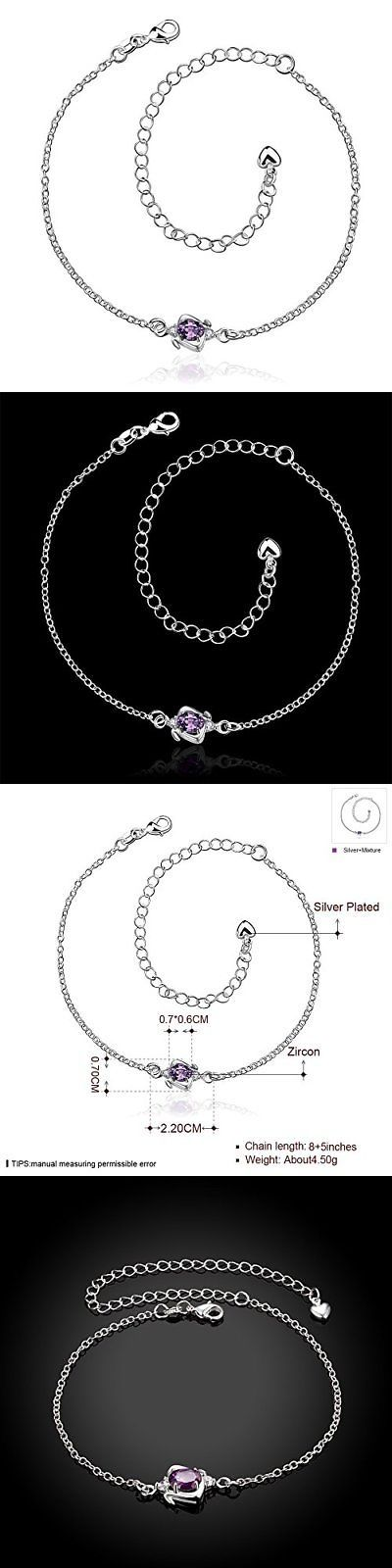 Anklets 110634: Jewelleryclub Womens Anklet Silver Plated Purple Swarovski Elements Crystal -> BUY IT NOW ONLY: $58.19 on eBay!