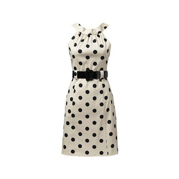 Coin Spot Belt Dress ($51) ❤ liked on Polyvore featuring dresses, vestidos, haljine, day dresses, smart dresses, boatneck dress, polka dot dress, zipper back dress, boat neckline dress and boat neck dress