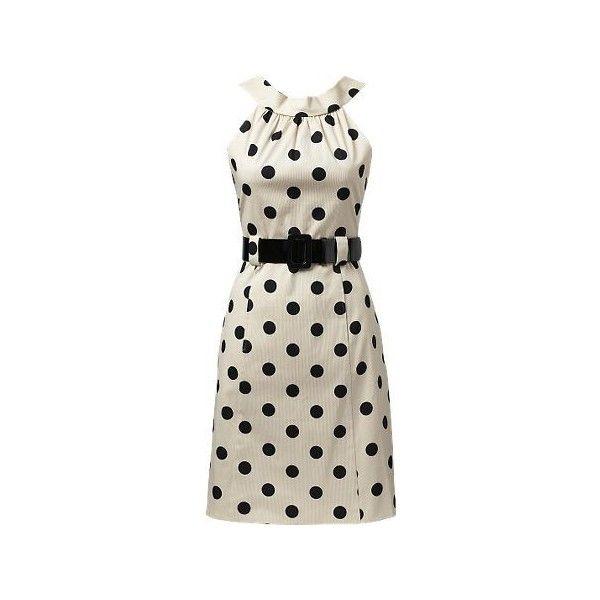 Coin Spot Belt Dress ($51) ❤ liked on Polyvore featuring dresses, vestidos, haljine, day dresses, smart dresses, boatneck dress, polka dot dress, zipper back dress, boat neckline dress and boat neck dress