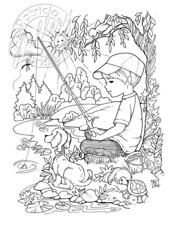 Grown-up Adult Coloring Book Pages Boy Fishing Puppy Dog Boy Decor