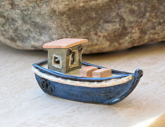 Collectible Miniature Ceramic Fishing Boat by MariaThorlund, $75.00