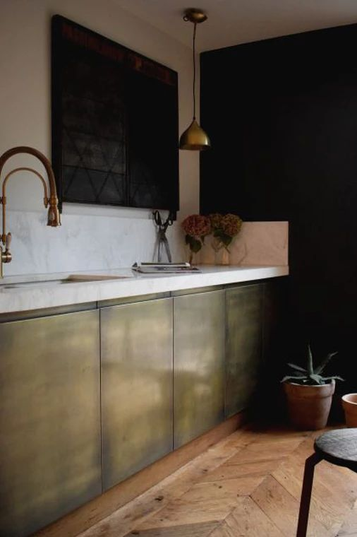 www.brassinteriors.co.uk doors, splashbacks etc, but without the huge price tag that is sometimes associated with luxury materials such as brass. We can use the kitchen cabinets that you already have, or you can have a new kitchen designed in your local kitchen store (Ikea, Howdens etc.) just send us your plans and we can quote to have it finished in our aged brass.  The Brass finish we use is aged and antiqued, to the extent that you require and then sealed for practicality