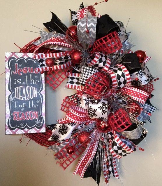 Jesus is the Reason Christmas Wreath Chalkboard by WreathyWoman