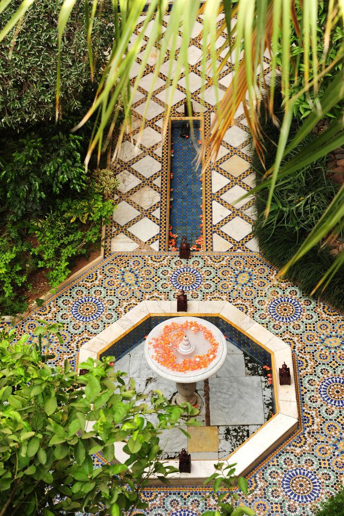 So stunning. Moroccan garden with tile, fountain. House Hunting in Morocco - Slide Show - NYTimes.com