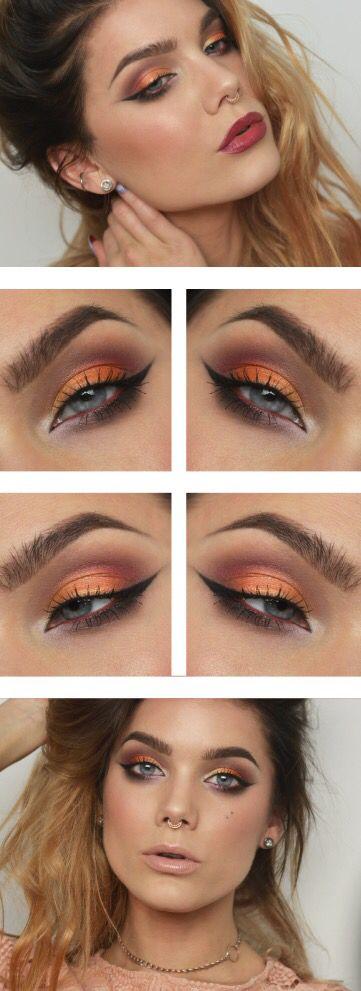 Maquillaje naranja y berenjena