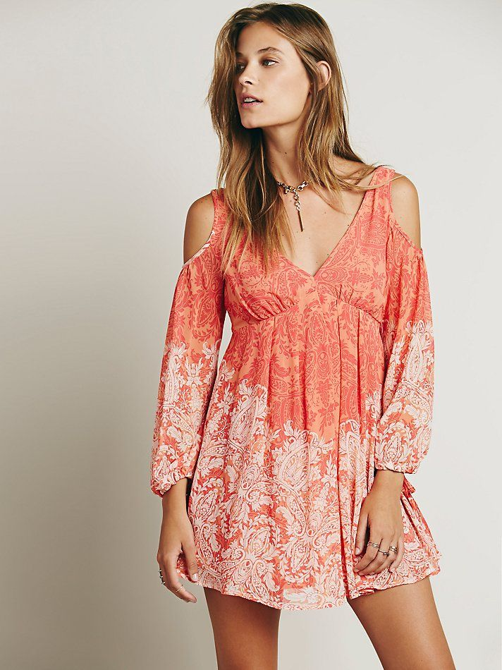 Free People Penny Lover Mini Dress at Free People Clothing Boutique in clementine