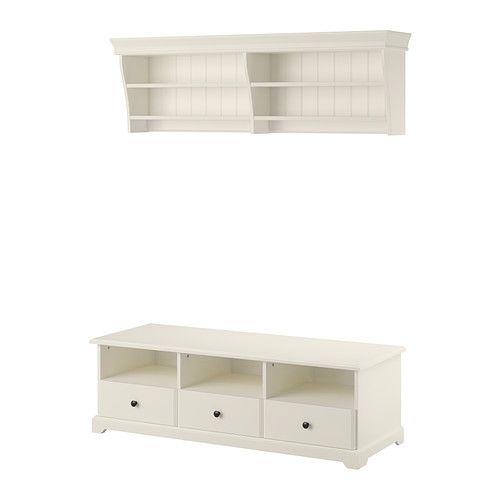 LIATORP TV storage combination, white white 145x49 cm