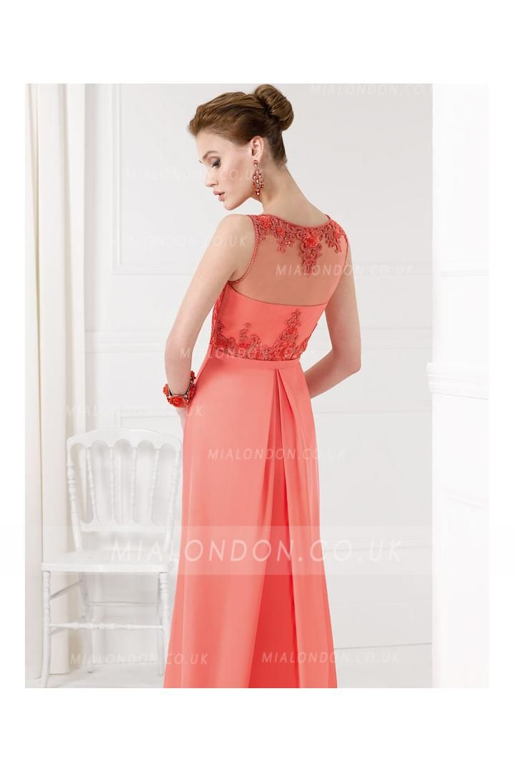 Sleeveless Bateau Neck Embroidered Lace Column Chiffon Long Coral Bridesmaid Dress