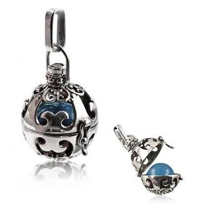 Harmony Ball - Opening - CAPRI BLUE - Sterling Silver Harmony Balls are used for many things including meditation, relaxation, calming babies and mothers-to-be... or given to close friends in tribute to long lasting, harmonious friendship.