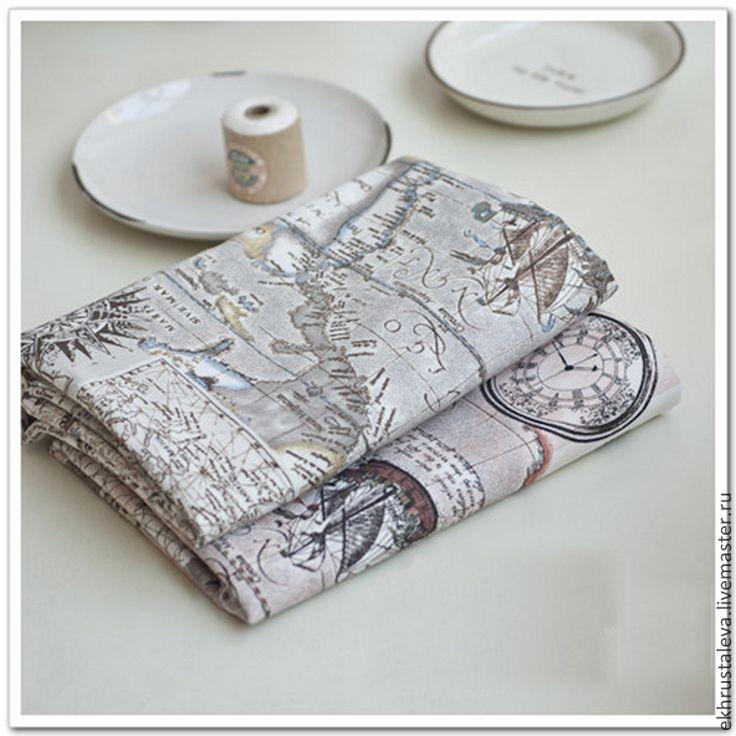 Купить Винтажный лен Морская карта - ткани для творчества, хлопок, лен, материал для сумок