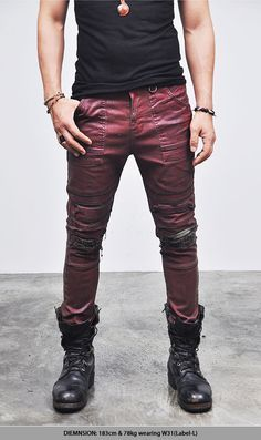 Bottoms :: Jeans :: Hardcore Wax Coated Grunge Red Biker-Jeans 88 - Mens Fashion Clothing For An Attractive Guy Look