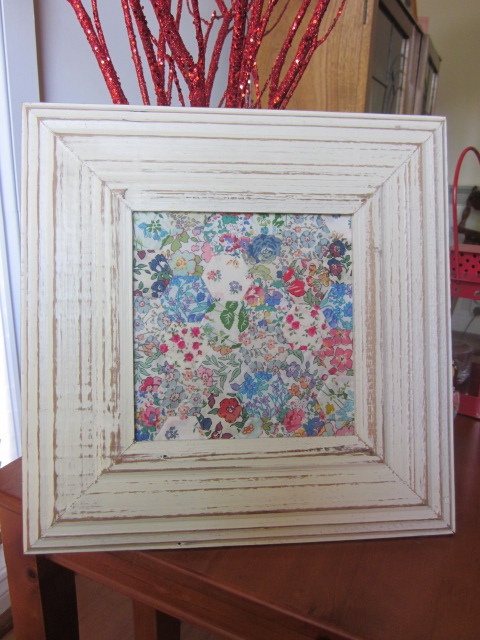 Liberty Fabric Hexagons framed by Miss Yarnwrap Melbourne