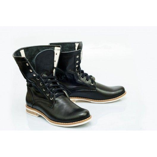 Originálne dámske kožené topánky čiernej farby - fashionday.eu