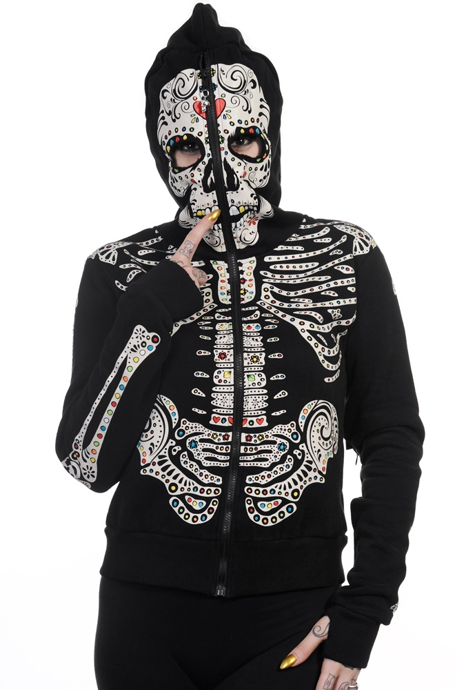 Banned Sugar Skeleton Womens Hoody Skull hoodie, Hoodies