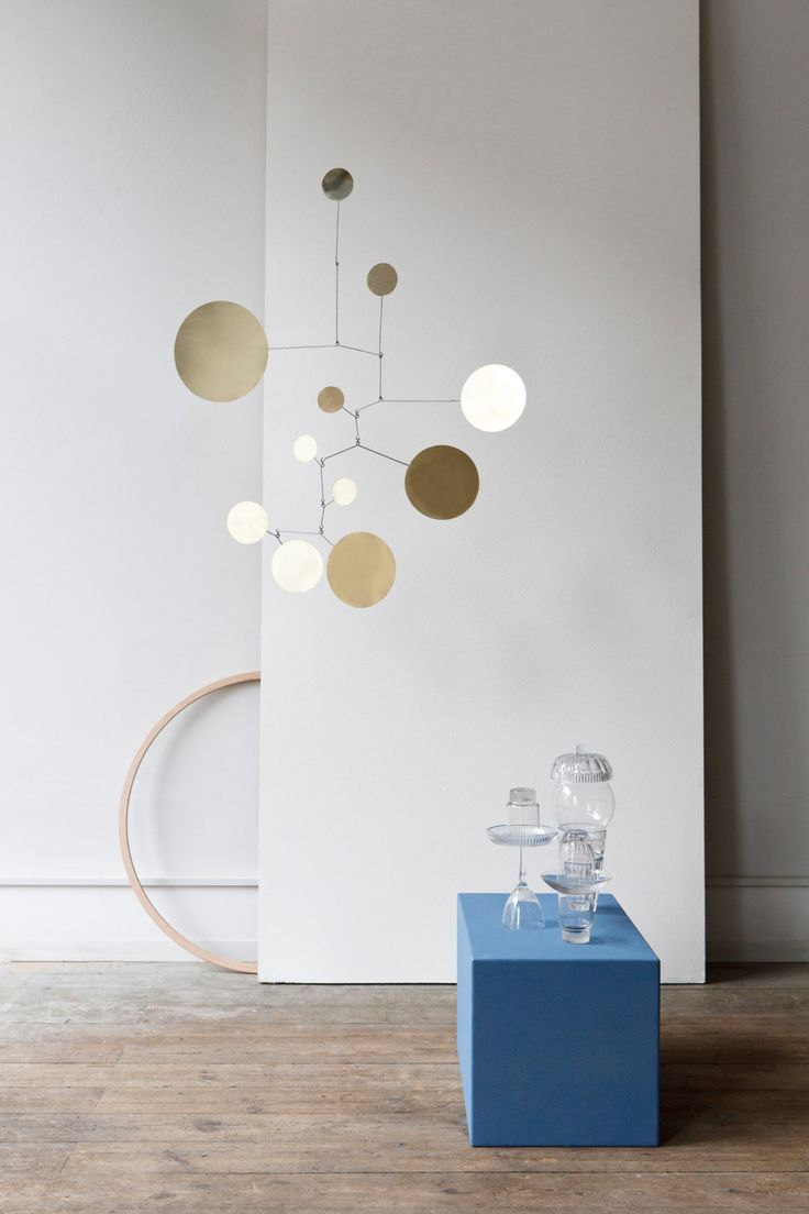 Mobile Brass Dots. Handmade in our studio. Brass and iron. Ca. 90cm x 70cm.   . Foto by Studio Oink.