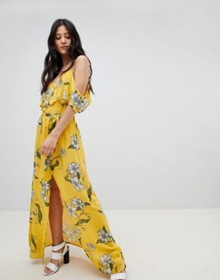 07f9d68525f New River Island Floral Print Cold Shoulder Maxi Dress online ...
