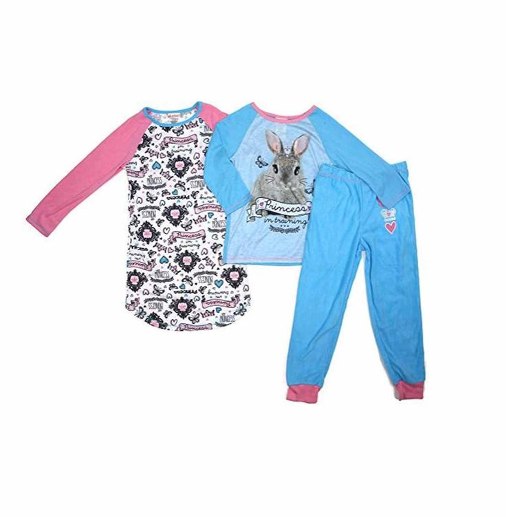 St. Eve Girls 3-piece Flame Resistant Cozy Pajamas Sleep Set (Bunny, M 10/12)
