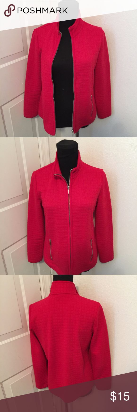 PS Karen Scott Women's Petite Quilted Red Zip Karen Scott red sport jacket in a size p/s. In good condition. 52% Cotton 48% Polyester. Karen Scott Jackets & Coats Utility Jackets