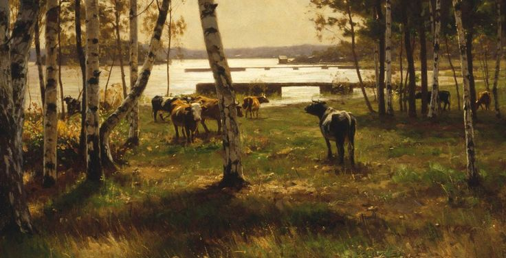 Victor Westerholm (1860-1919) Lokakuun päivä Ahvenanmaalla / An October Day in Åland 1885. Close-up.  - Finland - Finnish cows - kokoelmat.fng.fi
